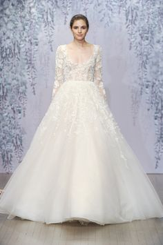 Long sleeve ballgown wedding dress with full skirt and lace bodice by @m_lhuillier | Bridal Market Fall 2016