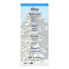Designs by Susan Savad - Evergreen in Winter Wedding Menu -- Winter wedding menu that you can customize yourself. #wedding #weddingmenu #customize #winter #evergreen   $0.55  per card   BULK PRICING AVAILABLE!