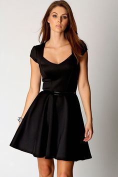 Lara Sweetheart Neck Skater Dress at boohoo.com