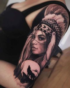 Indian Women Tattoo, Native Indian Tattoos, Indian Girl Tattoos, Indian Tattoo Design, Native American Tattoos, Arm Tattoos For Women, Chicano Tattoos, Dope Tattoos, Leg Tattoos