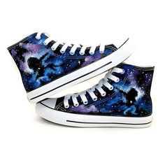Black Galaxy Converse shoes Custom Converse Galaxy Converse Sneakers H ❤ liked on Polyvore featuring shoes, sneakers, galaxy print shoes, canvas footwear, planet shoes, black trainers and converse trainers