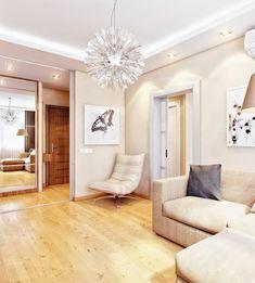Neutral Mod Retro Living Area With Cozy Sofa And Light Hardwood Floor, Photo  Neutral Mod Retro Living Area With Cozy Sofa And Light Hardwood Floor Close up View.