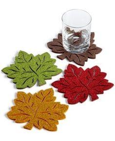 Homewear Glitter Leaf 4-pc. Felt Coaster Set - Multi