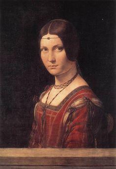 Leonardo da Vinci (Italian 1452–1519) [High Renaissance] La belle Ferroniere, c. 1490. Louvre.