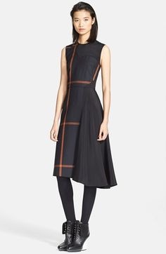 """Free shipping and returns on 3.1 Phillip Lim 'Shadow' Satin Inset Dress at Nordstrom.com. <p><B STYLE=""""COLOR:#990000"""">Pre-order this style from the Fall 2014 collection! Limited quantities. Ships as soon as available. You'll be charged only when your item ships.</b></P><br>The sharply tailored silhouette of a windowpane-patterned dress gives way to a cascading asymmetrical skirt crafted from a side-tracing inset panel of smooth satin."""