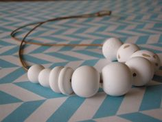 Polymer clay necklace white pebbles by AllsKnotForgotten on Etsy, $30.00
