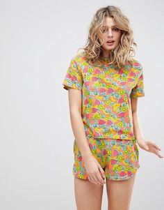 ASOS   ASOS Tropical Fruity Tee & Short Pajama Set