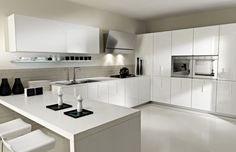 Kitchen:Kitchen Bright And Clean Modern White Kitchen Decorting Ideas For Modern Kitchen Design With U Shaped Modern White Kitchen Cabinets Plus Simple White Wall Mount Cabinet Plus Cool Under 25 Smart Ideas For Stylish Modern Kitchen Designs