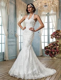 Cheap Trumpet/Mermaid Wedding Dress Court Train Tulle V Neck Halter With Beading Appliques  Free Measurement