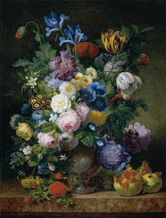 Still Life With Tulips, Carnations, Roses, Irises, Narcissi And Various Other Flowers In A Silver Vase Together With Figs, Grapes And Pomegranates On A Marble Ledge by Jean Joseph-Xavier Bidauld