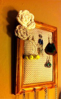 Upcycled Framed Earring Holder by Kenzster on Etsy, $15.00