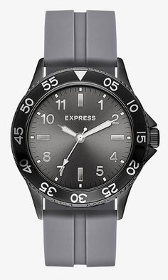 Gray Analog Rubber Strap Watch from EXPRESS