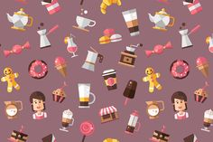 Coffee Shop Flat Design Pattern by Decorwith.me Shop on Creative Market