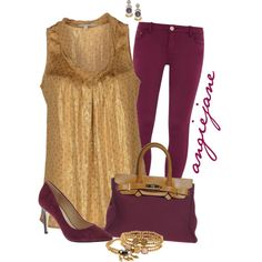 Gold & Wine, created by angiejane on Polyvore
