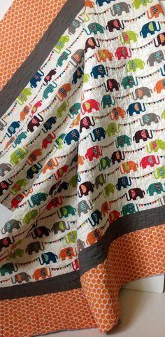 Organic Baby Quilt, Modern, Safari Soirée, Elephun, Baby Blanket,Orange, Gray, Multi Color, Elephants, Gender Neutral