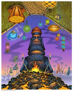 Doug Horne limited edition print. 'Mysteries of the Moai' $40.00