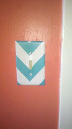 Teal chevron scrapbooking paper mod podged onto switchplate in my woman cave. Did the same with the outlets.