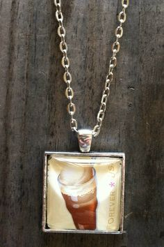 Root Beer Float Necklace ~  Soda Fountain Favorites ~ Dome Pendant Tray Necklace ~ Postage Stamp Jewelry ~ Forever Stamp ~ Ice Cream Float by MichellesVarietyShop on Etsy