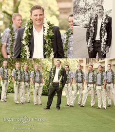 hawaiian wedding, island, kauai, details, destination wedding, groom, groomsmen, photographer, hawaii, beach, large bridal party, casual, boys, men, groom, groomsmen, GilmoreStudios.com