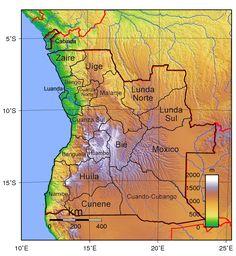 Angola provincias mapa topografico