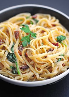 Bacon and Spinach Fettuccine Alfredo Recipe