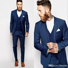 Hot Selling Terno Slim Business Mens Suits 3 Pieces (Jacket+Pants+vest) Wedding Tuxedos Groomsmen Best Man Formal Suit for Men. Product ID: Traje Slim Fit, Terno Slim Fit, Groomsmen Suits, Men's Suits, Navy Blue Prom Suits, Groom Attire, Formal Suits, Men Formal, Prom Suits For Guys