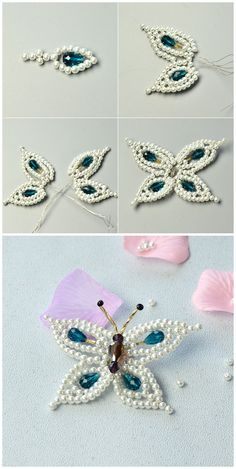 Gather the glass beads, pearl beads and seed beads together to make up an elegant butterfly brooch for u.