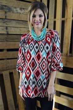 Anya Ruffle Tunic - Pair with black leggings, tall black boots and let's go! - Love this chunky necklace - statement piece - dress modest - turquoise or sea foam or mint (not sure) and red , black and white,