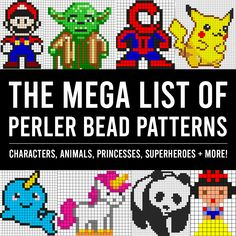 The GIANT list of Perler Bead Patterns {fuse beads, melty beads} - It's Always Autumn Melt Beads Patterns, Easy Perler Bead Patterns, Pearler Bead Patterns, Perler Bead Art, Beading Patterns, Perler Bead Templates, Beading Tutorials, Bracelet Patterns, Make Paper Beads