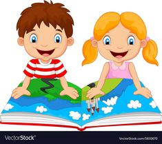 Cartoon boy and girl were readings the story Vector Image Cartoon Cartoon, Kids Vector, Vector Art, September Preschool Themes, Adobe Illustrator, Reading Projects, Birthday Clipart, Classroom Walls, Art Drawings For Kids