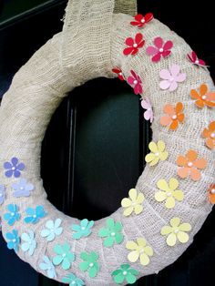 burlap+paint chip wreath. My design would be to pick a favorite color, and design it the ombré way.