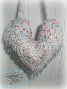Heart Sachet With Beads-sachet, gift, cottage home, shabby home, decoration, pink roses, beads, lace, handmade gift,