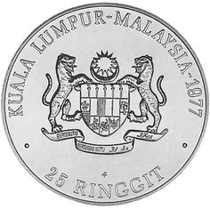 Moneda de plata 25 Ringgit Kuala Lumpur-Malaysia 1977., Tienda Numismatica y Filatelia Lopez, compra venta de monedas oro y plata, sellos españa, accesorios Leuchtturm
