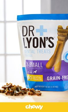 Freshen up doggy breath with mint-flavored Dr. Lyon's Extra-Small Dental Dog Treats. These chewy treats have a unique brush shape and texture that's designed to fight plaque and tartar buildup as your pup chews. With a flavor pets love and no grains, corn, wheat or soy, they're easy to digest and perfect for everyday treating. They're made to help keep your dog's teeth in tip-top shape, and are just the right size.
