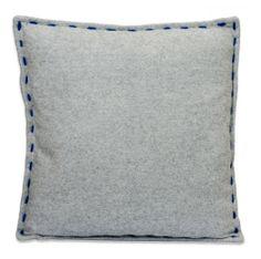 grey wool cushion with blue stitching - Furnitive