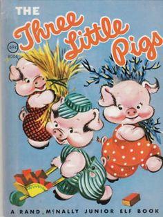 The Three Little Pigs Vintage Children's Rand McNally Junior Elf Book Vintage Children's Books, Vintage Comics, Vintage Items, Cumple Peppa Pig, Old Children's Books, Three Little Pigs, Kids Story Books, Little Golden Books, Children's Literature