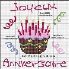anniversaire - Point de croix - Blog : http://broderiemimie44.canalblog.com/
