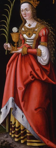 Hans Dürer (attributed by Christies 1999) or Franconian Master (attr. by Compton Verney Gallery): Saint Barbara. Oil on panel, about 1519-27,  102 x 40 cm, altarpiece wing, back (front: Saint George and the dragon)