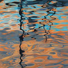 Mast Reflections: acrylic on canvas, measures 30 x 30 inches, boat reflections, ripples, sunset, by artist Jennifer Litchfield