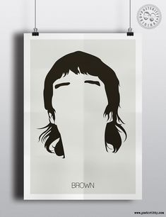 Ian Brown (Stone Roses) minimalist hair poster by Posteritty.com minimal musician art