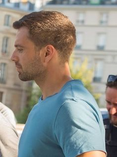 Sebastian ✪ Stan in Paris during the filming of 355 July 2019 Sebastian Stan, Ben Barnes, Bucky Barnes, Best Profile, Side Profile, Marvel Actors, Marvel Characters, Dc Movies, Derek Hale