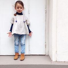 Patron de Couture PDF à télécharger.Enfant Fille. 3-12 ans Duo de patrons de couture - robe et blouse.Un style bohème à la coupe loose (bien ample) et manche