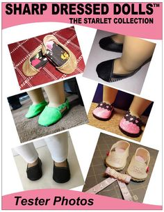 """The Marlene Slippers 18"""" Doll Clothes Pattern"""