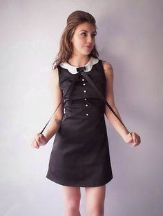 60'S Reproduction mod shift  dress black and by VioletHouseRepro