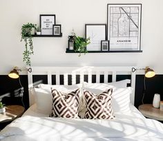 🗺 M A P I F U L 🗺⁣ ⁣ Our has found its final location in Bedroom The design compliments the monochrome style perfectly. Bedroom Wall Decor Above Bed, Floating Shelves Bedroom, Bed Wall, Room Ideas Bedroom, Bedroom Decor, Decorating With Floating Shelves, Bedroom Wall Shelves, Above Headboard Decor, Bedroom Furniture Makeover
