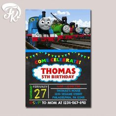 Thomas The Train Invitation Chalkboard Birthday Party Card Digital Invitation $9.19 USD