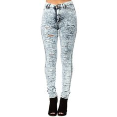 CiCiHot Light Blue High Waist Dipped in Acid Skinny Jeans ($47) ❤ liked on Polyvore featuring jeans, pants, bottoms, pantalones, skinny leg jeans, stretch jeans, light blue jeans, high-waisted jeans and acid wash jeans