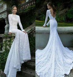 Vestido novia con mangas sin espalda cola de arrastre corte sirena de encaje