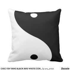 CHIC YIN YANG BLACK AND WHITE CONTEMPORARY ART THROW PILLOW