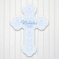 "Personalized Wall Cross Boy's Room Nursery Decor Baby Baptism First Communion Christening Wedding Gift Keepsake Approx 9.8"" Damask Blue 103B..."